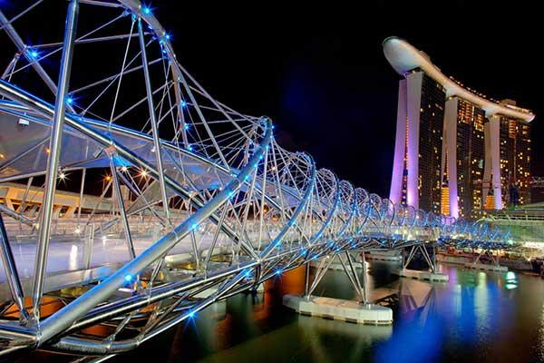 Cây cầu dành cho người đi bộ tuyệt vời này đã được khai trương vào năm 2010 và kết nối Trung tâm Marina với Bến du thuyền phía Nam.