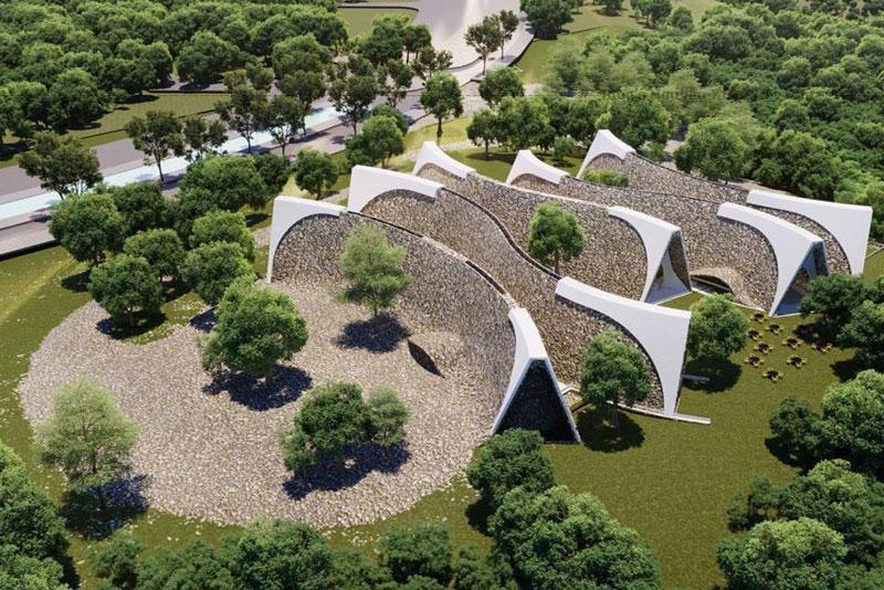 Bên ngoài cuối hành lang là một không gian mở ngoài trời dựa theo kiến trúc ruộng bậc thang của vùng Cao Nguyên, không gian hội thảo… các không gian này được kết nối với tạo thành một công viên Cà Phê.