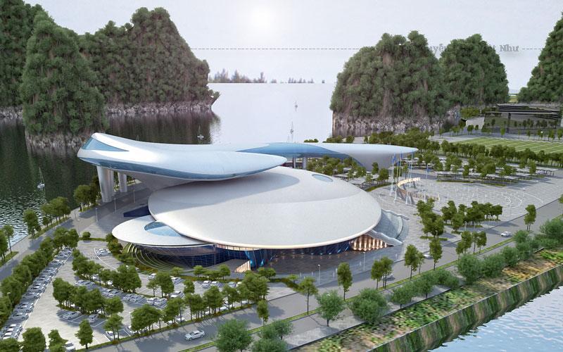 Công trình này mô phỏng hình con cá heo vờn con sò biển, được đưa vào sử dụng tháng 1/2019. Giới chuyên môn đánh giá công trình này có thiết kế phá cách, tạo nét kiến trúc Quảng Ninh độc đáo, bắt mắt.